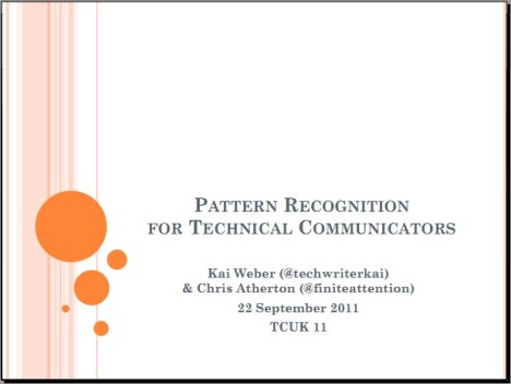 Link to PDF slides: Pattern recognition for tech comm