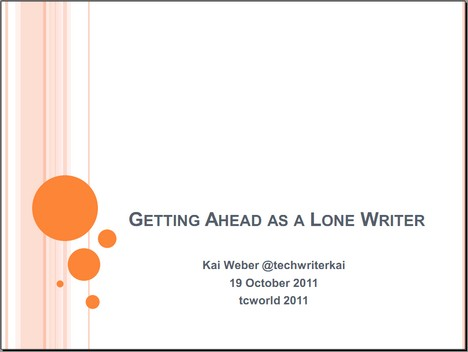 "My tekom presentation ""Getting ahead as a lone writer"". Click to download the PDF."