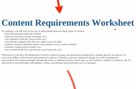 Ray Gallon's Content Requirements Worksheet